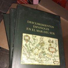 Militaria: DESCUBRIMIENTOS ESPAÑONES EN EL MAR DEL SUR // TRES TOMOS // EDITORIAL NAVAL EDICIÓN DE LUJO. Lote 180092202