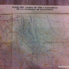 Militaria: PLANO DEL CAMPO DE TIRO Y MANIOBRAS DE LA ACADEMIA DE INFANTERÍA. CUADRANTE N.E. 1955. Lote 180167513