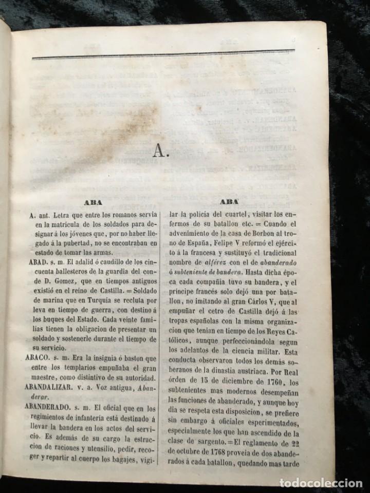 Militaria: DICCIONARIO MILITAR - 1863 - J.DW.M. - Foto 2 - 184053332