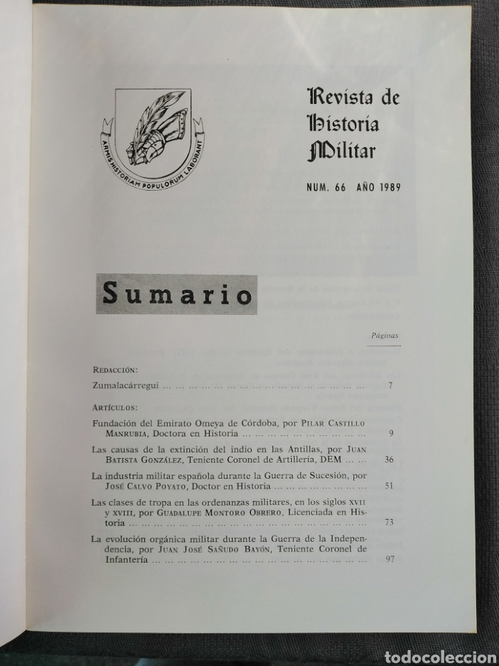 Militaria: REVISTA DE HISTORIA MILITAR - N. 66 - 1989 - Servicio Histórico Militar - Foto 3 - 184832416