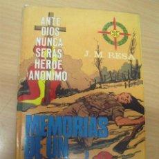 Militaria: MEMORIAS DE UN REQUETÉ, J. M. RESA, ED. BAYER HNOS, BARCELONA, 1968, DEDICADO AUTOR. Lote 186130691