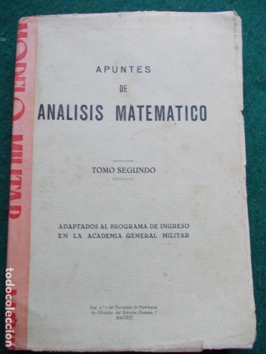 APUNTES DE ANALISIS MATEMATICO ACADEMIA GENERAL MILITAR (Militar - Libros y Literatura Militar)