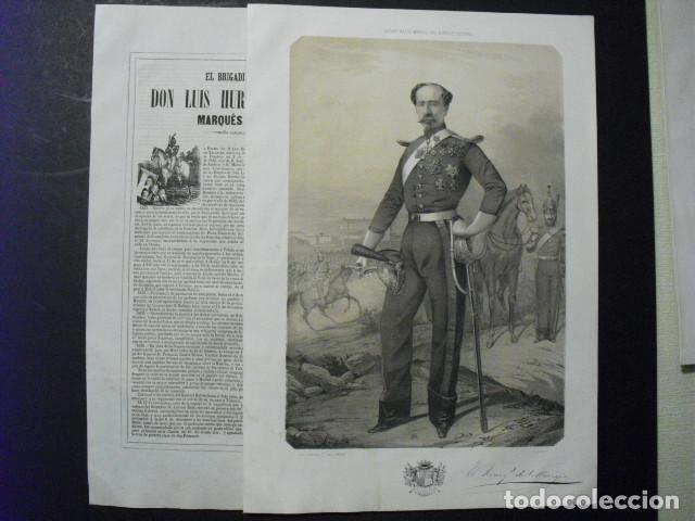 1853 LITOGRAFIA Y BIOGRAFIA DEL BRIGADIER D. LUIS HURTADO DE ZALDIVAR MARQUES DE VILLAVIEJA N JEREZ (Militar - Libros y Literatura Militar)