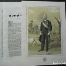 Militaria: 1853 LITOGRAFIA Y BIOGRAFIA DEL BRIGADIER D. JOAQUIN COS-GAYON N. EN CARREJO-CABEZON DE LA SAL. Lote 189671000
