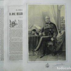Militaria: 1853 LITOG. Y BIOGRAFIA DEL BRIGADIER D. JOSE MELLID DE BOLAÑO Y SANCHEZ N. EN STA. Mª DE CAMPOS. Lote 189674630