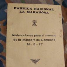 Militaria: INSTRUCCIONES MÁSCARA DE CAMPAÑA M3 77 NBQ. Lote 189984960