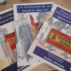 Militaria: TRES LIBROS DE UNIFORMIDAD MILITAR ESPAÑOLA 1886-1885-1912. Lote 190733073