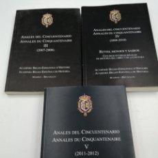 Militaria: ANALES DEL CINCUENTENARIO TOMOS, 2,3 4 Y 5 ACADEMIA BELGO ESPAÑOLA DE HISTORIA. Lote 192149365