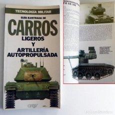 Militaria: GUÍA ILUSTRADA DE CARROS LIGEROS Y ARTILLERÍA - LIBRO TECNOLOGÍA MILITAR TANQUES ARMA EJÉRCITO ORBIS. Lote 192994161