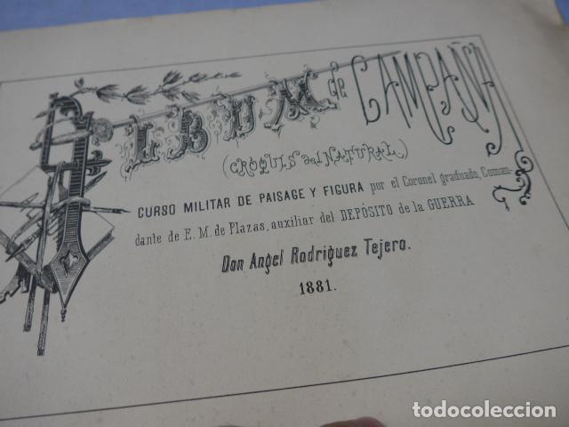 Militaria: * Antiguo album de campaña de laminas militares de 1881, original, guerra carlista. ZX - Foto 2 - 194239981