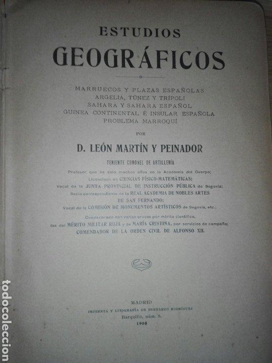 Militaria: ESTUDIOS GEOGRAFICOS.Marruecos .Posesiones españolas en Africa. Por D. LEON MARTIN Y PEINADOR - Foto 8 - 194346171
