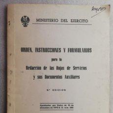 Militaria: ORDEN INSTRUCCIONES Y FORMULARIO PARA LA REDACCION DE LAS HOJAS DE PERMISOS MINISTERIO DEL EJERCITO. Lote 194499931