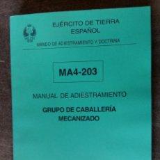 Militaria: MANUAL DE ADIESTRAMIENTO, GRUPO DE CABALLERÍA MECANIZADO, 268 PÁGINAS APROX.. Lote 194554857