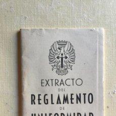 Militaria: EXTRACTO DEL REGLAMENTO DE UNIFORMIDAD. Lote 194571753