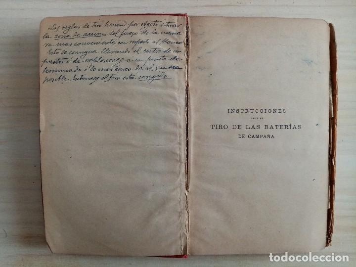 Militaria: ARTILLERIA - INSTRUCCIONES PARA EL TIRO DE LAS BATERIAS DE CAMPAÑA - REGLAMENTO - 1909 - Foto 4 - 194873748