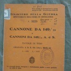 Militaria: TABLA DE TIRO CAÑON 149 ITALIANO 1938. Lote 194924413