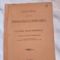 Militaria: MEMORIA CRUZ ROJA ESPAÑOLA 1895. MEDICINA.MILITAR.EJERCITO.SIGLO XIX. ESPAÑOL. Lote 194924847