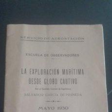 Militaria: LA EXPLORACIÓN MARÍTIMA DESDE GLOBO CAUTIVO. 1930. AEROSTACIÓN. Lote 194945166