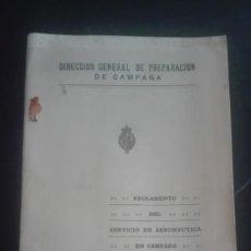 Militaria: REGLAMENTO DEL SERVICIO DE AERONÁUTICA EN CAMPAÑA 1929. AEROSTACIÓN. Lote 194946757
