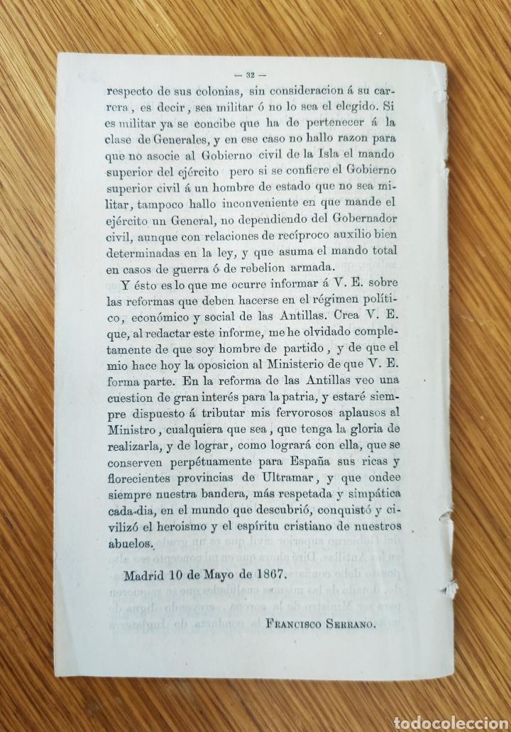 Militaria: INFORME SOBRE ULTRAMAR - GENERAL FRANCISCO SERRANO - GUERRA DE CUBA - 1968 GUERRA DE LOS DIEZ AÑOS - Foto 3 - 195260111