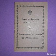 Militaria: LIBRO CENTRO INSTRUCCION RECLUTAS Nº7 ENTRENAMIENTO VEHICULOS PRIMER ESCALON EJERCITO MILITAR. Lote 195441825