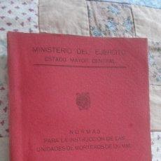 Militaria: MINISTERIO EJERCITO.NORMAS INSTRUCCION UNIDADES MORTEROS 120 MM.MADRID 1955. Lote 195496167
