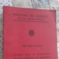 Militaria: MINISTERIO EJERCITO.INFANTERIA.NORMAS INSTRUCCION UNIDADES MORTEROS 81 MM.MADRID 1955. Lote 195496497