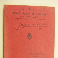 Militaria: DIRECCION GENERAL DE PREPARACION DE CAMPAÑA REGLAMENTO TACTICO DE LA ARTILLERIA DE MONTAÑA AÑO 1927. Lote 196639635
