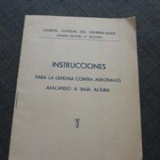 Militaria: INSTRUCCIONES PARA LA DEFENSA CONTRA AERONAVES ATACANDO A BAJA ALTURA. .BURGOS 1937 .GUERRA CIVIL.. Lote 196895033