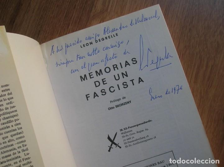 Militaria: MEMORIAS DE UN FASCISTA. CON FIRMA Y DEDICATORIA PERSONAL DE LEON DEGRELLE A DESTACADO POLITICO. - Foto 2 - 204498731