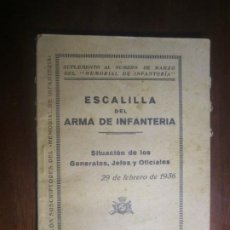 Militaria: ESCALILLA DEL ARMA DE INFANTERIA 29 /2/ 1936 TOLEDO --F.FRANCO DE JEFE MAYOR DEL EJERCITO A CANARIA. Lote 209170400
