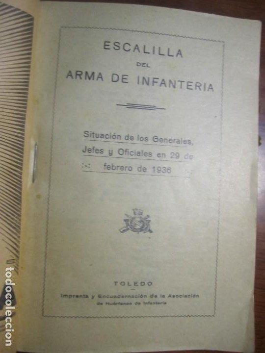 Militaria: ESCALILLA DEL ARMA DE INFANTERIA 29 /2/ 1936 TOLEDO --F.FRANCO DE JEFE MAYOR DEL EJERCITO A CANARIA - Foto 2 - 209170400