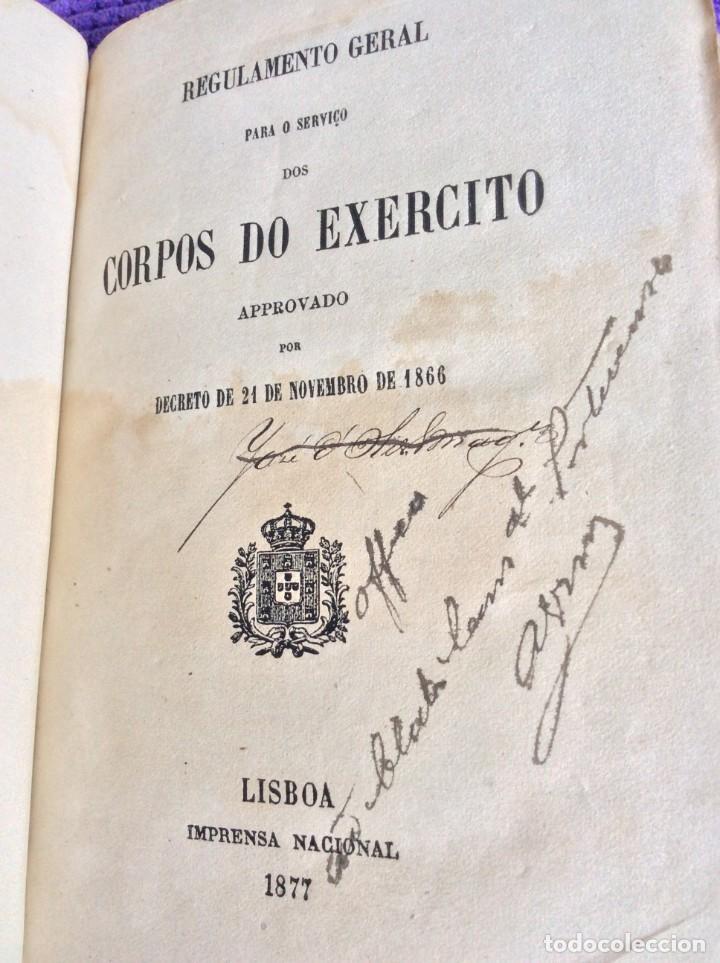 REGULAMENTO GERAL PARA O SERVIÇO DOS CORPOS DO EXERCITO, 1877. MUY ESCASO. SALIDA A 0.01€. (Militar - Libros y Literatura Militar)