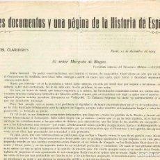 Militaria: 1924 TRES DOCUMENTOS Y UNA PÁGINA DE LA HISTORIA DE ESPAÑA FIRMA SANT.º ALBA - MADRID - PARÍS. Lote 222870942