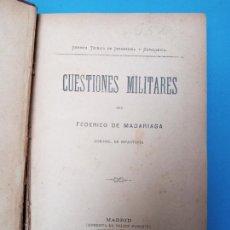 Militaria: CUESTIONES MILITARES POR FEDERICO DE MADARIAGA - MADRID 1899. Lote 224637503