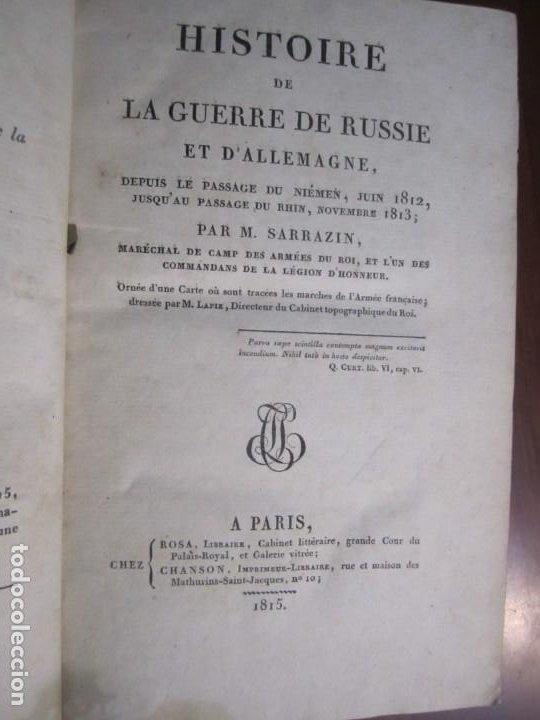 Militaria: HISTOIRE DE LA GUERRE DE RUSSIE ET DALLEMAGNE M.SARRAZIN 1815 PARIS - Foto 2 - 226694895