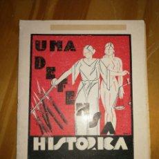 Militaria: UNA DEFENSA HISTÓRICA.SEGUNDA EDICIÓN.1931. LA GUTTENBERG. 28PÁGS.W. Lote 227978555