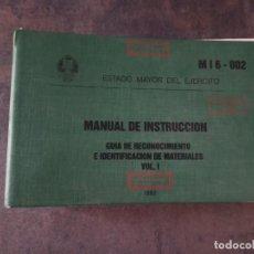 Militaria: MANUAL DE INSTRUCCIÓN GUÍA DE RECONOCIMIENTO E IDENTIFICACIÓN DE MATERIALES VOL 1 CARROS DE COMBATE.. Lote 232146105