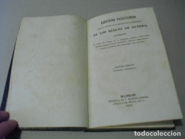 Militaria: 1852 EJERCICIOS PARA LA INSTRUCCION MILITAR DE LA MARINERIA DE LOS BUQUES DE GUERRA TGAL. ARMERO - Foto 3 - 243896900