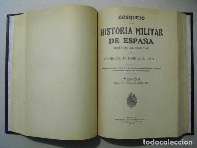 Militaria: 1923 BOSQUEJO DE LA HISTORIA MILITAR DE ESPAÑA GENERAL ALMIRANTE OBRA COMPLETA 4 TOMOS EN 2 VOLUMEN - Foto 3 - 245448110