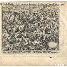 Militaria: 1616 GRABADO DEL LIBRO LAS GUERRAS DE NASSAU. BATALLA DE NIEUWPOORT (1600). Lote 245520925