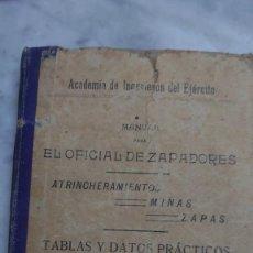 Militaria: PRPM 68 ACADEMIA DE INGENIEROS DEL EJÉRCITO 1912. MANUAL ZAPADORES, MINAS, ZAPAS. Lote 246595845