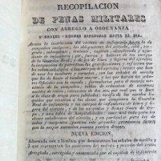Militaria: RECOPILACION DE PENAS MILITARES - MANUEL Mª MENGS / MIGUEL SANCHEZ / JULIAN LOPEZ - 1834. Lote 252118755