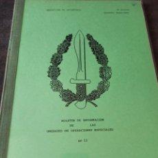 Militaria: BOLETIN DE INFORMACIÓN DE LAS UNIDADES DE OPERACIONES ESPECIALES N° 13 1990 COE BOEL. Lote 263159490