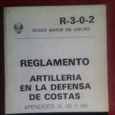 Militaria: REGLAMENTO ARTILLERÍA ENLA DEFENSA DE COSTAS. R-3-0-2 1984. DEROGADO. Lote 265160474