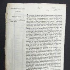 Militaria: AÑO 1822 - ESTADO DE LA FUERZA DE LA MILICIA NACIONAL - MINISTERIO DE GUERRA. Lote 267065879