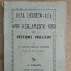Militaria: REGLAMENTO DE DESTINOS PUBLICOS PARA EL EJERCITO Y ARMADA 1927. Lote 269940588