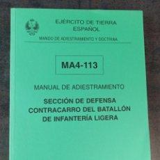Militaria: MANUAL DE ADIESTRAMIENTO SECCIÓN DE DEFENSA CONTRACARRO DEL BATALLÓN DE INFANTERÍA LIGERA. Lote 275999773