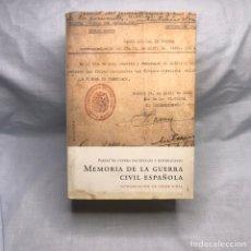 Militaria: LIBRO MEMORIA DE LA GUERRA CIVIL ESPAÑOLA. Lote 276682123