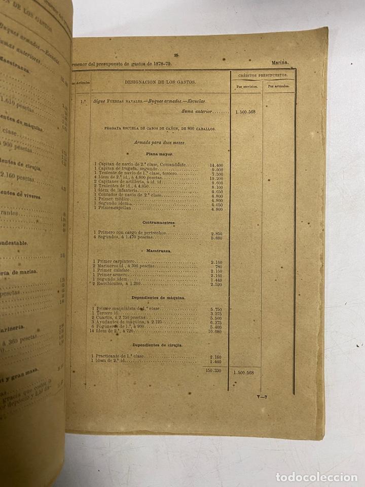 Militaria: PRESUPUESTO GENERAL DEL MINISTERIO DE MARINA PARA EL AÑO ECONOMICO DE 1878-79. PAGS: 76 - Foto 2 - 288449313